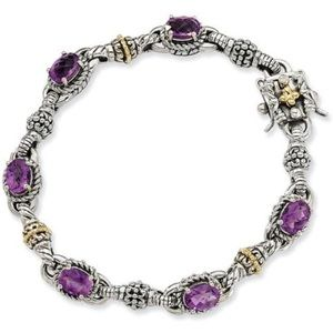 Jewelry - Two Tone Amethyst Bangle Bracelet